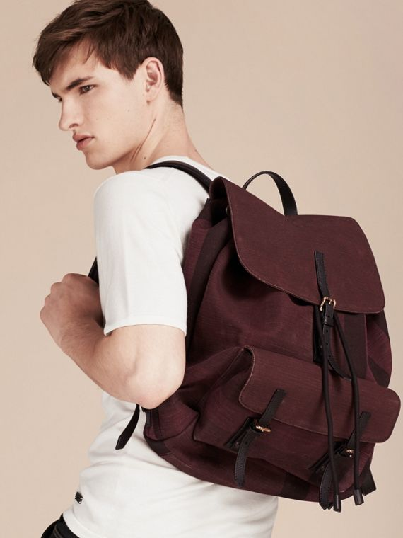 Claret Overdyed Canvas Check Backpack Claret - cell image 2
