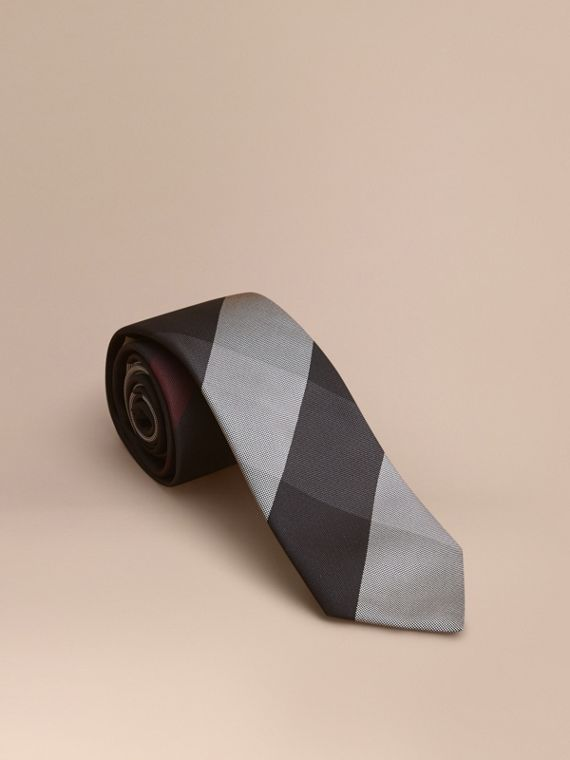 Modern Cut Check Silk Tie Charcoal