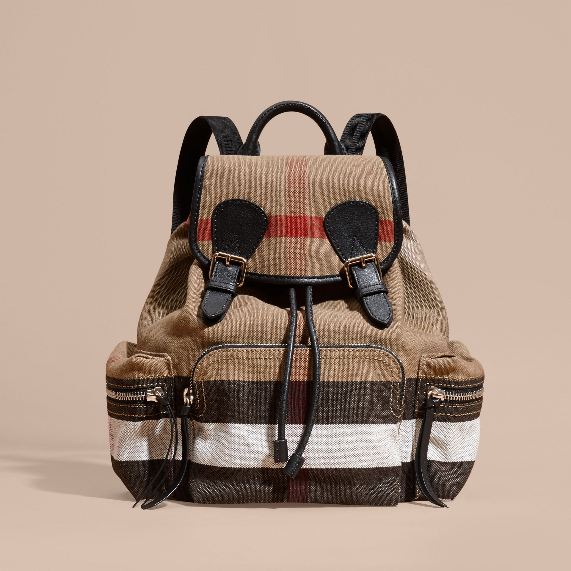 Black The Medium Rucksack in Canvas Check and Leather - gallery image 8
