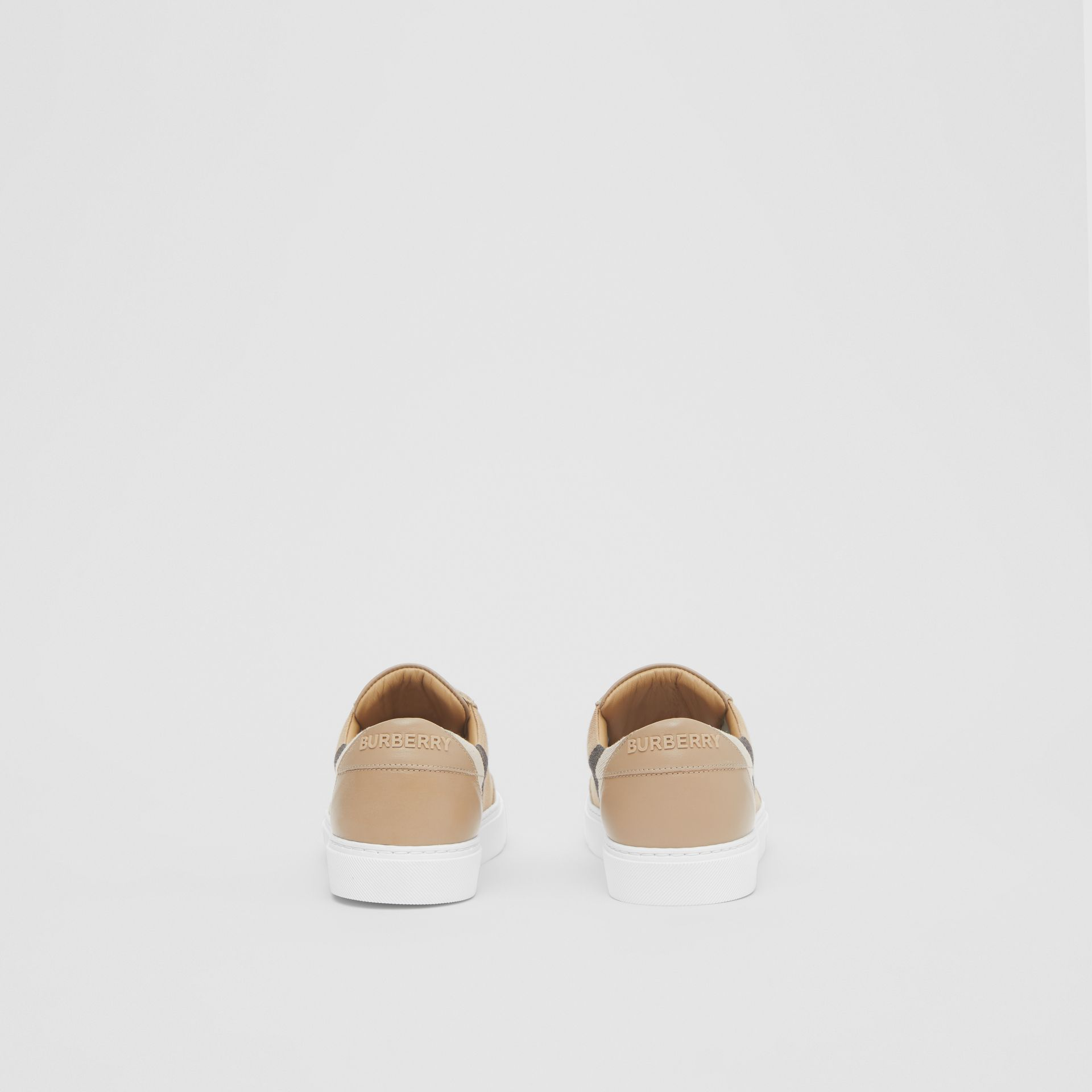 House Check and Leather Sneakers in Tan - Women | Burberry United Kingdom - gallery image 4