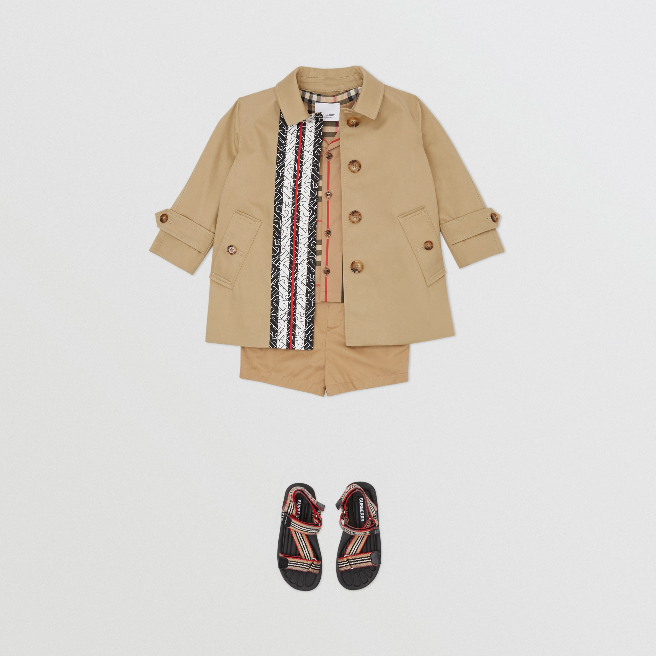 Monogram Stripe Print Cotton Car Coat in Honey - Children | Burberry - 4