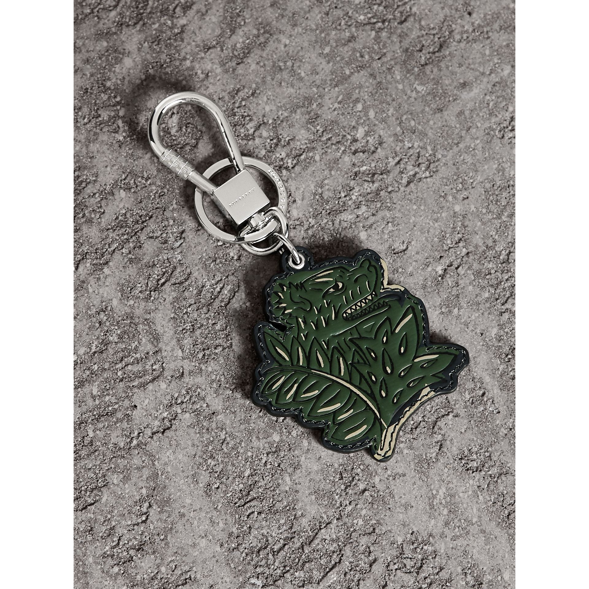 Beasts Leather Key Ring in Olive Green | Burberry - gallery image 1