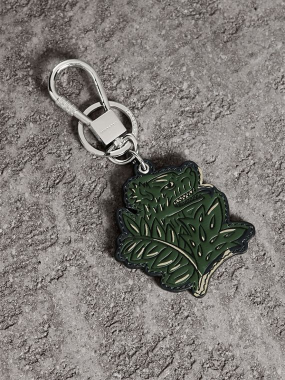 Beasts Leather Key Ring in Olive Green | Burberry Australia