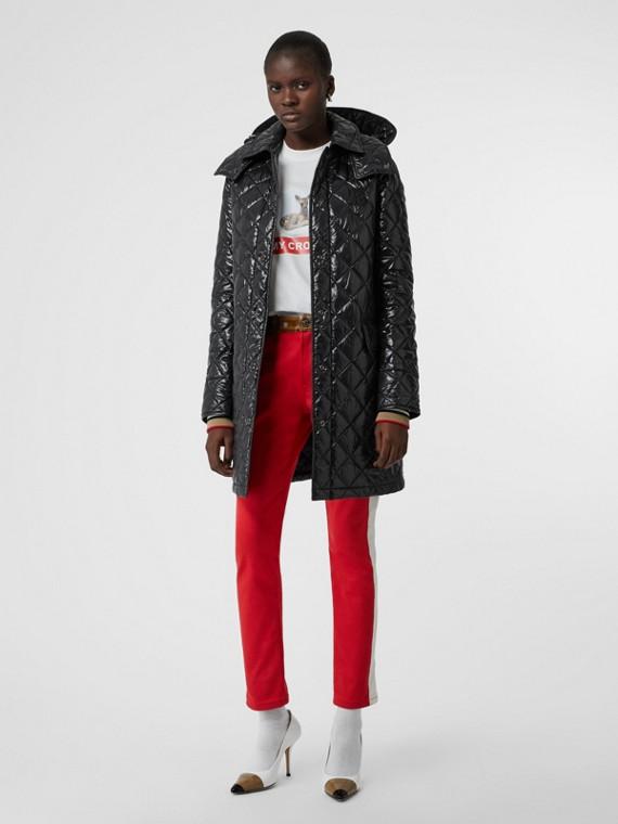 Manteau matelassé Monogram avec capuche amovible (Noir)