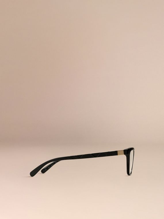 Black Check Detail Cat-eye Optical Frames Black - cell image 3