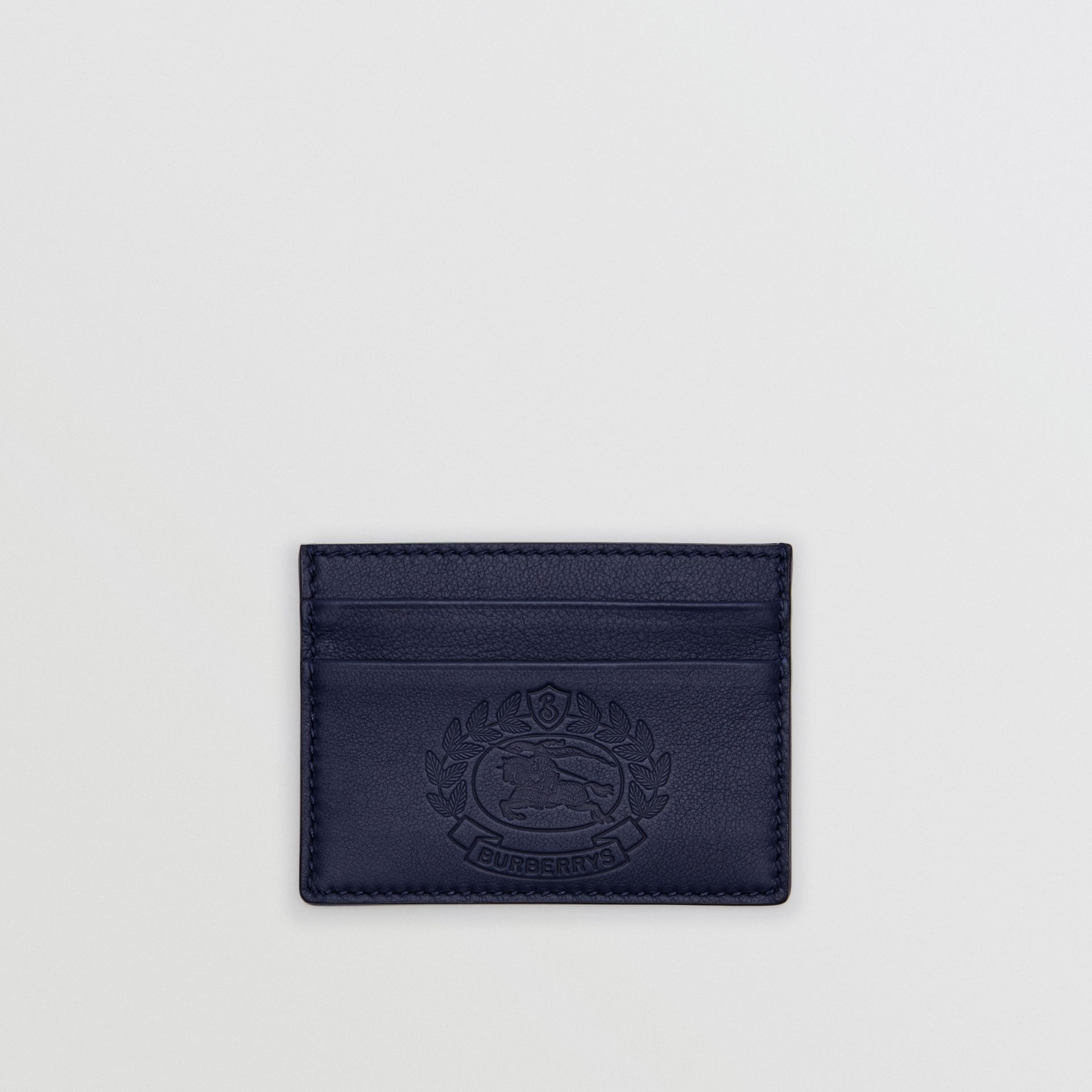 Embossed Crest Leather Card Case in Regency Blue | Burberry - gallery image 0