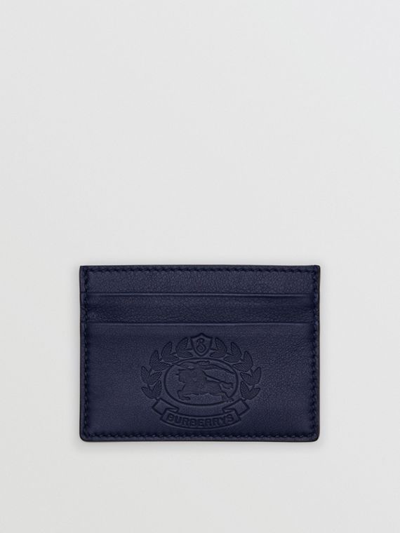 Embossed Crest Leather Card Case in Regency Blue