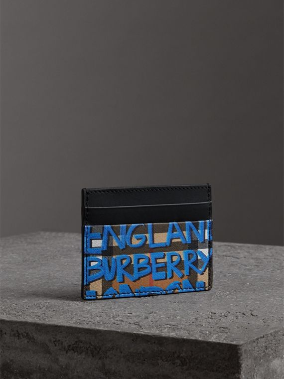 Graffiti Print Vintage Check Leather Card Case in Canvas Blue/antique Yellow | Burberry Canada - cell image 2