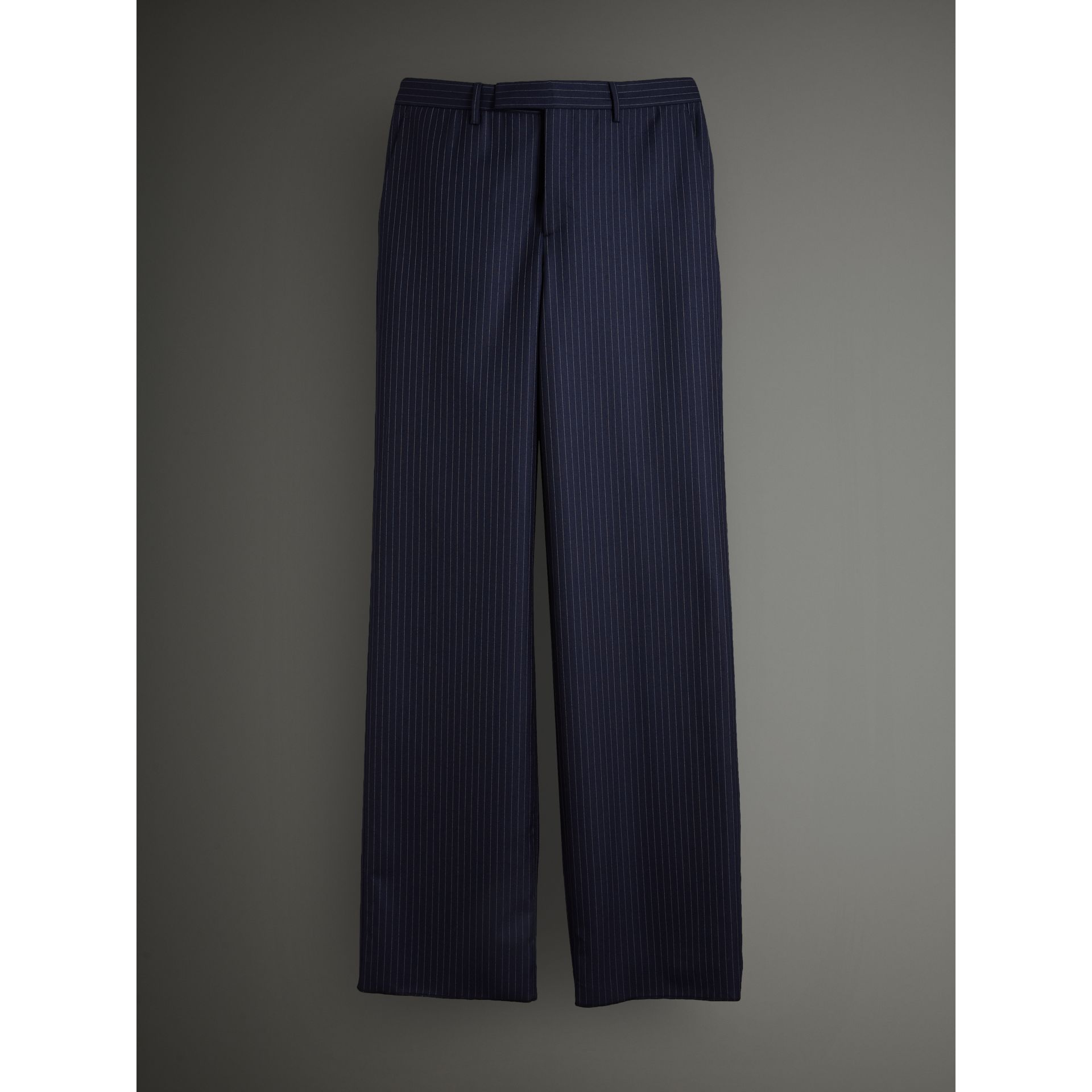English Pinstripe Wool Wide-leg Trousers in Navy/white - Men | Burberry United Kingdom - gallery image 3