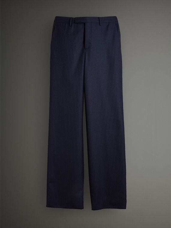 English Pinstripe Wool Wide-leg Trousers in Navy/white - Men | Burberry Australia - cell image 3