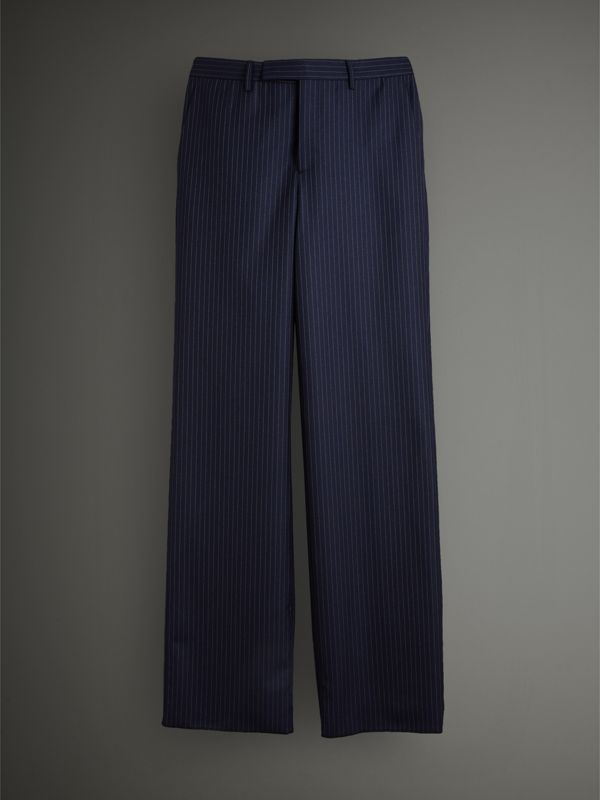 English Pinstripe Wool Wide-leg Trousers in Navy/white - Men | Burberry United Kingdom - cell image 3