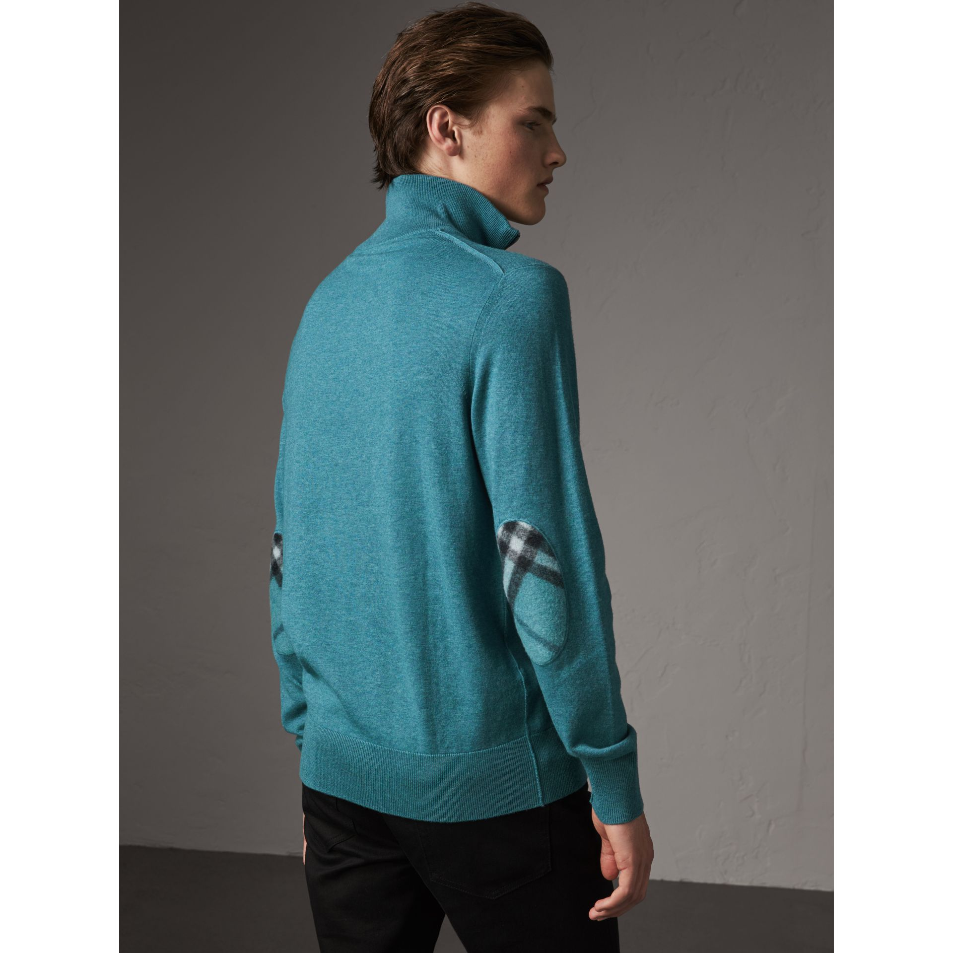 Zip-neck Cashmere Cotton Sweater in Grey Blue - Men | Burberry - gallery image 1