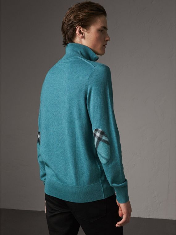 Zip-neck Cashmere Cotton Sweater in Grey Blue