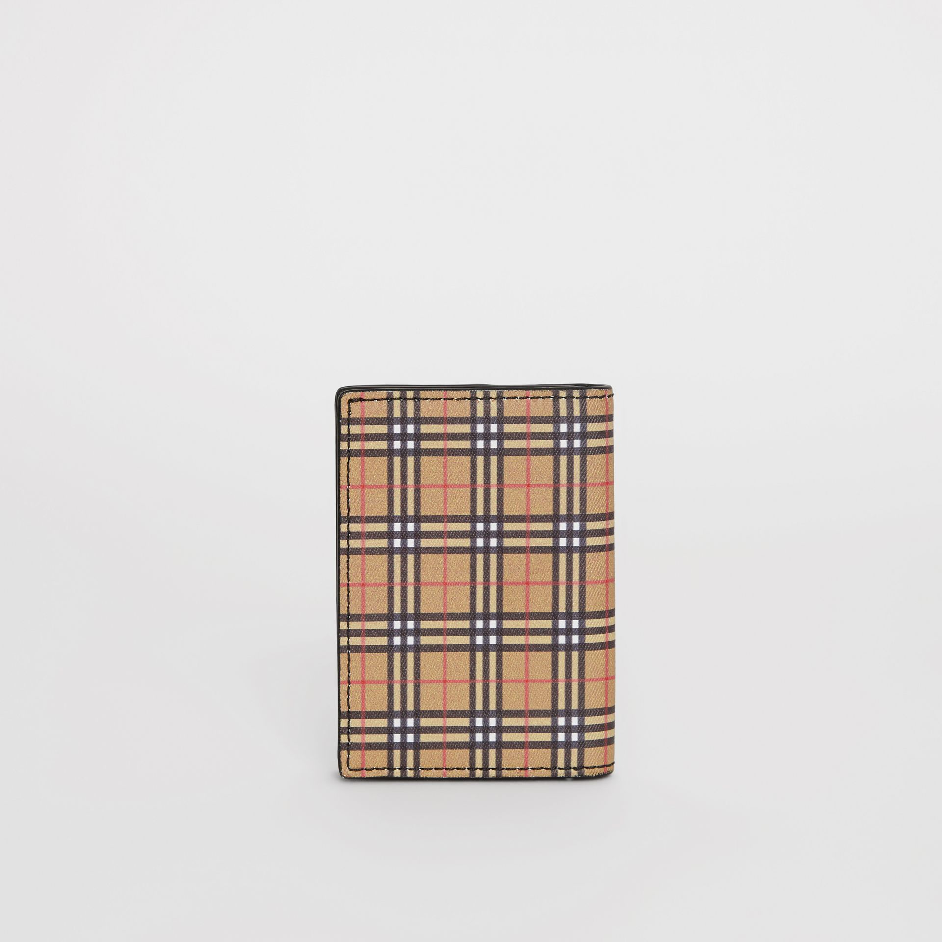 Small Scale Check and Leather Folding Card Case in Antique Yellow/black - Men | Burberry United Kingdom - gallery image 5