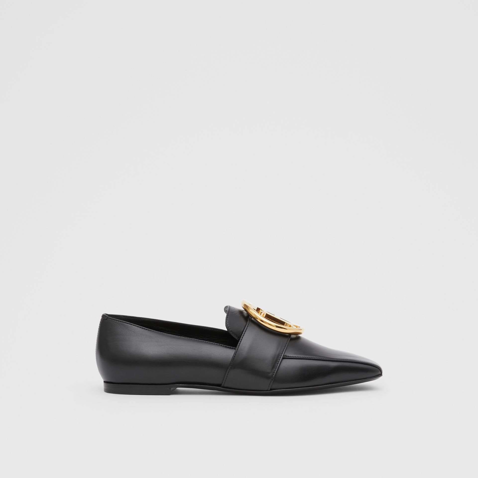 Monogram Motif Leather Loafers in Black - Women | Burberry United Kingdom - gallery image 4