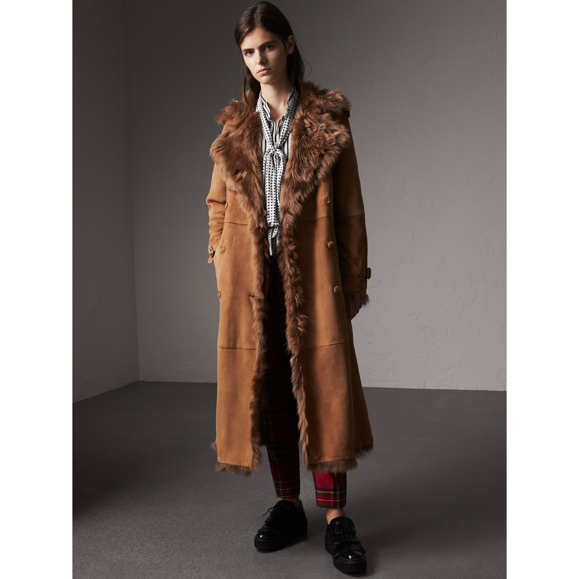 Shearling Long Trench Coat in Dark Camel - Women | Burberry - gallery image 0