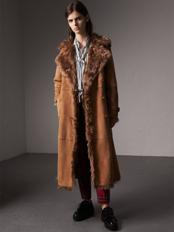 Shearling Long Trench Coat in Dark Camel