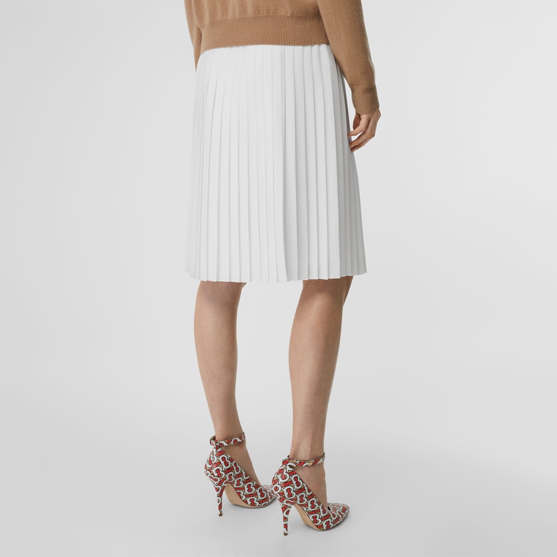 Silk-lined Pleated Skirt in Optic White - Women | Burberry Australia - gallery image 2