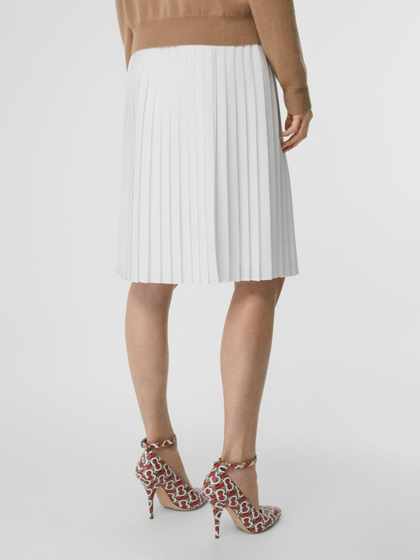 Silk-lined Pleated Skirt in Optic White - Women | Burberry - cell image 2