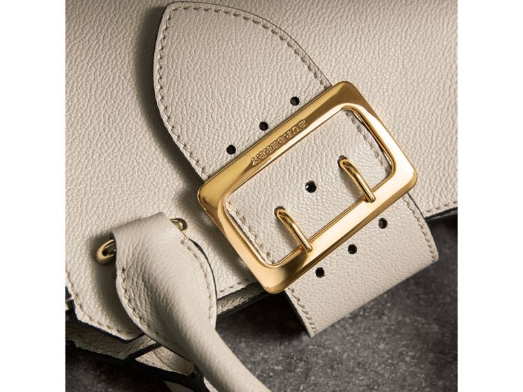 The Small Buckle Tote in Grainy Leather in Limestone - Women | Burberry Australia - cell image 1