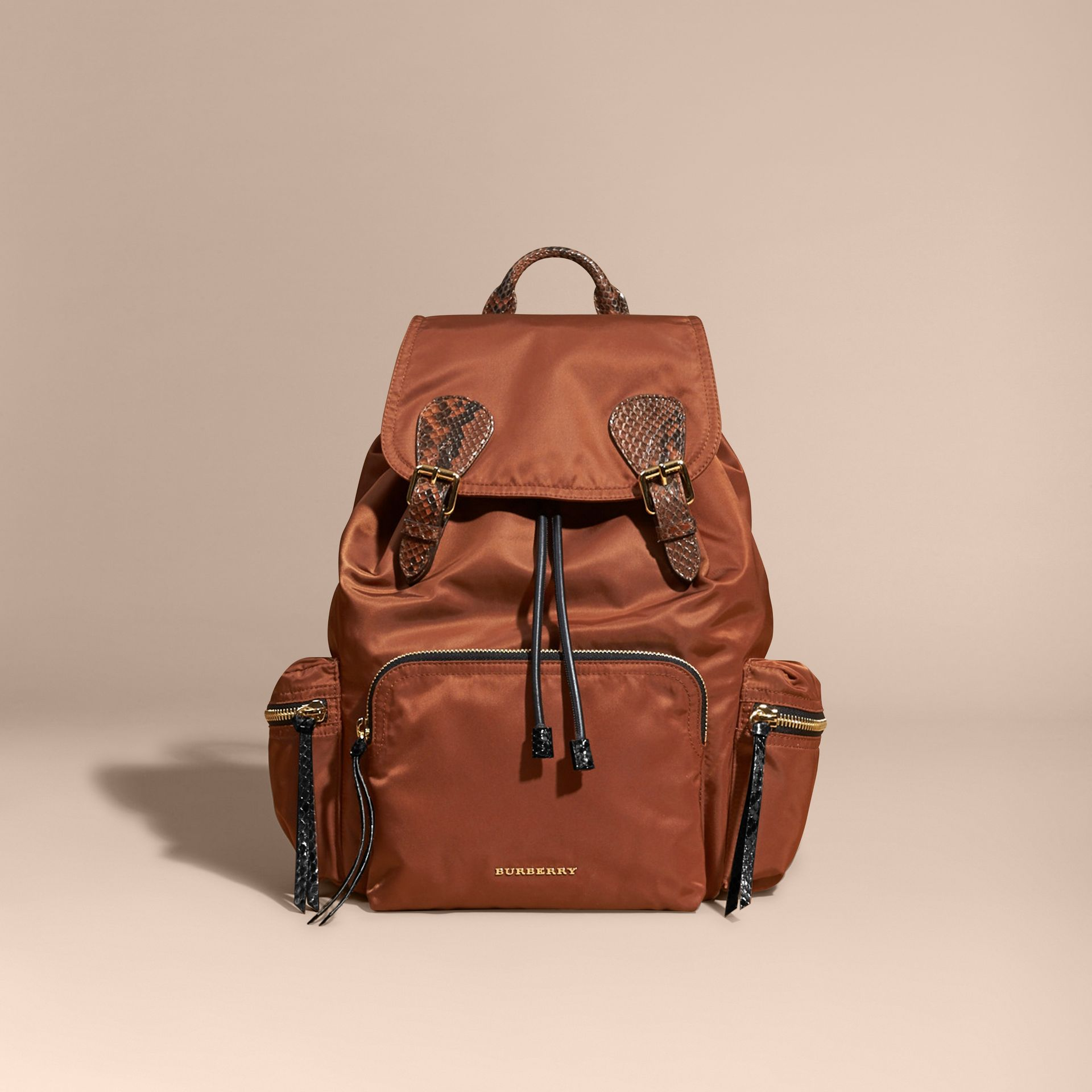 The Large Rucksack in Technical Nylon and Snakeskin in Redwood/tan - gallery image 8