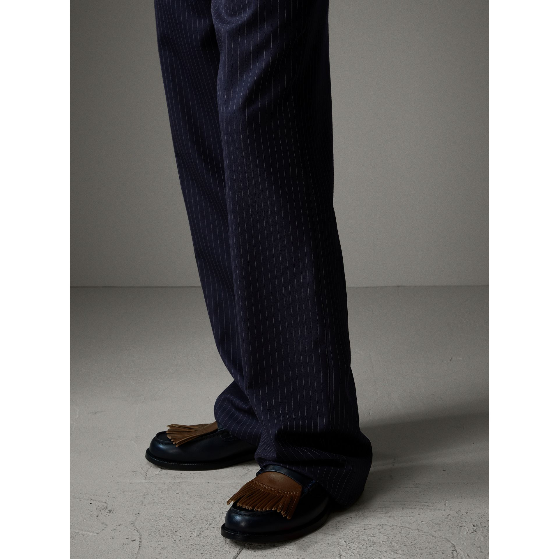 English Pinstripe Wool Wide-leg Trousers in Navy/white - Men | Burberry Australia - gallery image 4