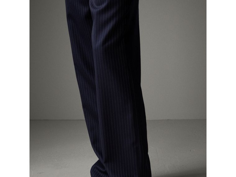 English Pinstripe Wool Wide-leg Trousers in Navy/white - Men | Burberry Australia - cell image 4