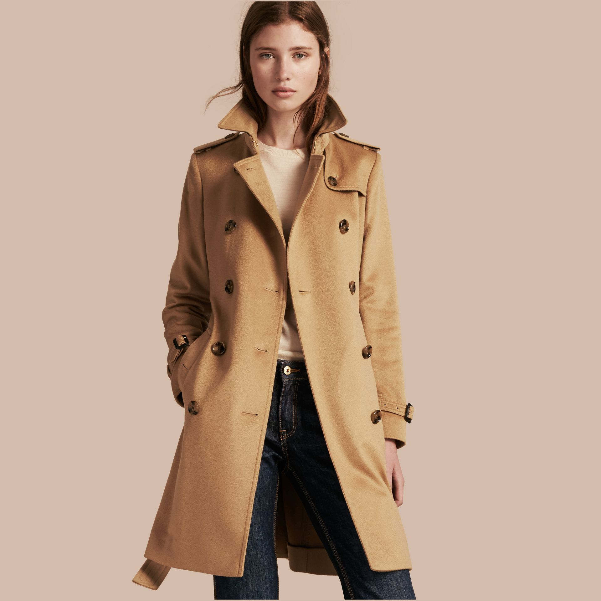 Camel Kensington Fit Cashmere Trench Coat Camel - gallery image 1