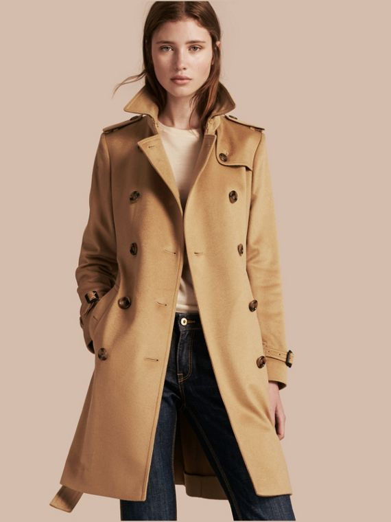Trench-coat en cachemire de coupe Kensington Camel