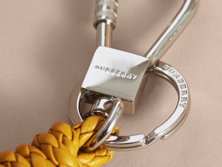 Braided Leather Knot Key Ring in Bright Citrus - Men | Burberry - cell image 1