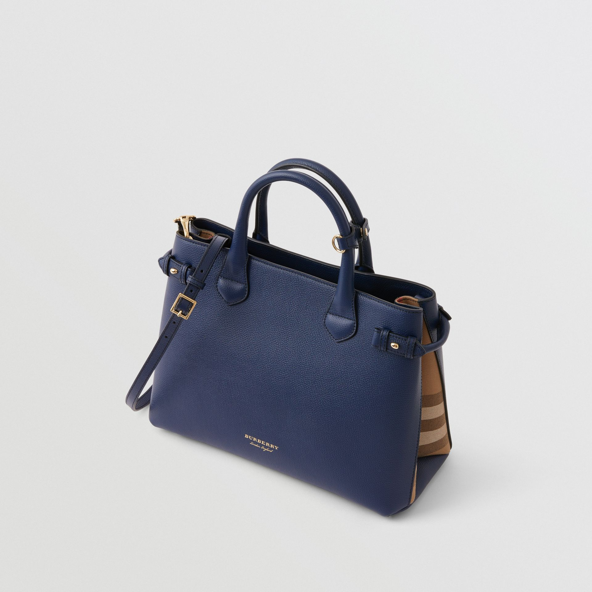 The Medium Banner in Leather and House Check in Ink Blue - Women | Burberry Australia - gallery image 0