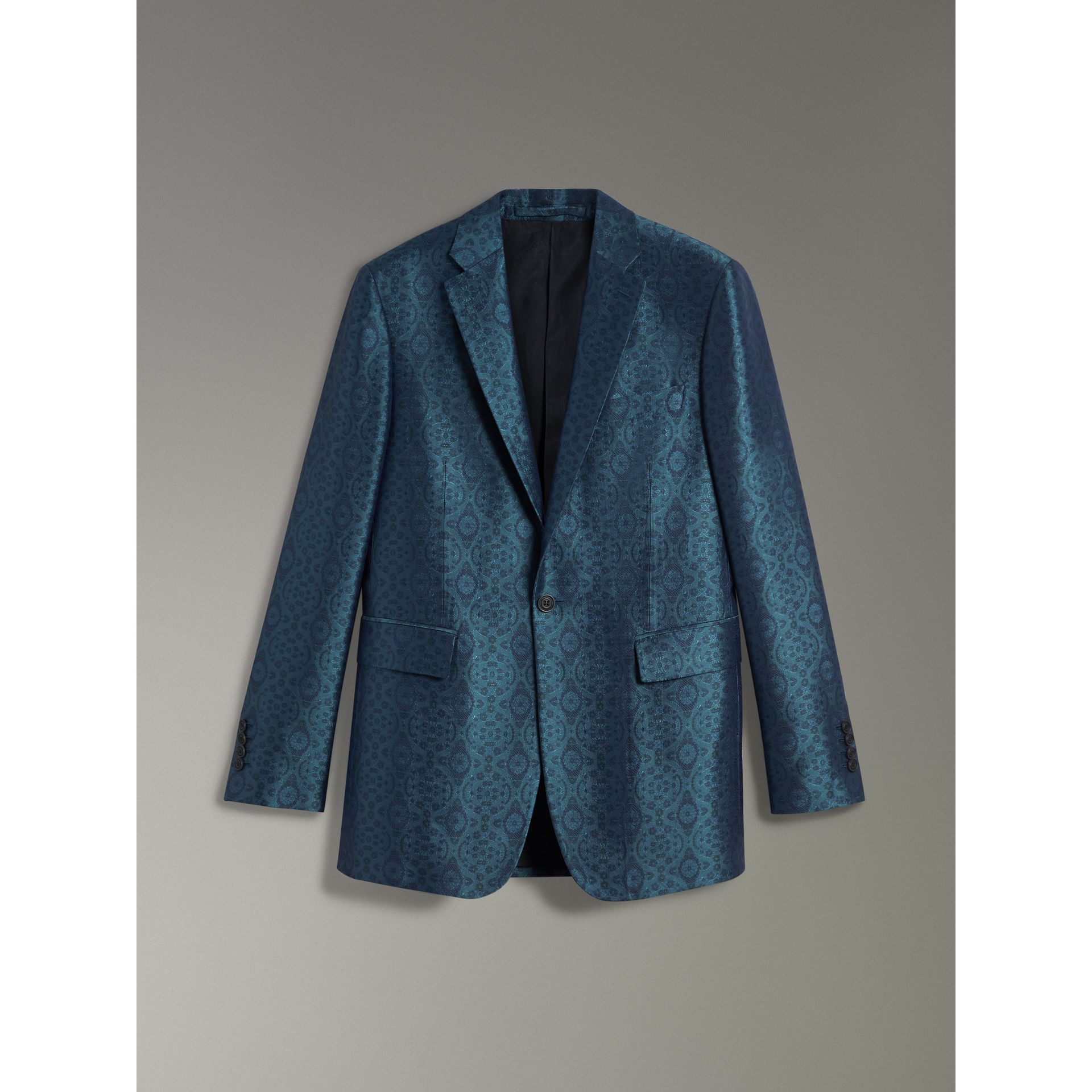 Soho Fit Geometric Silk Jacquard Suit in Dark Teal - Men | Burberry - gallery image 3