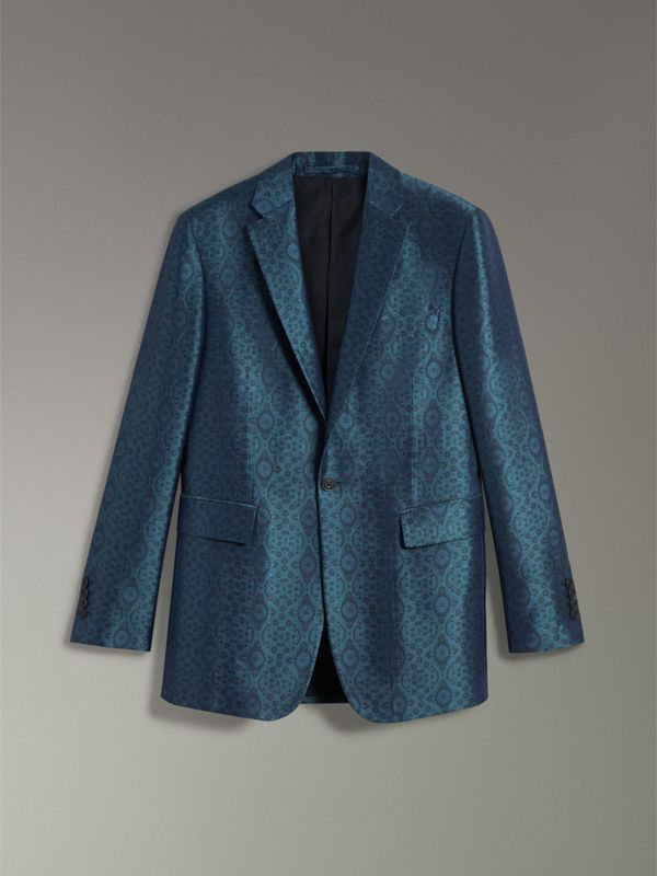 Soho Fit Geometric Silk Jacquard Suit in Dark Teal - Men | Burberry - cell image 3