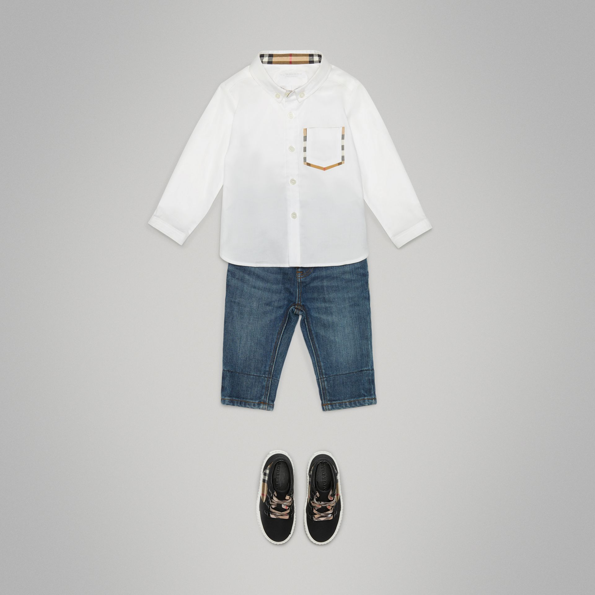 Check Detail Cotton Oxford Shirt in White - Children | Burberry United States - gallery image 2