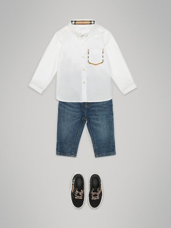Check Detail Cotton Oxford Shirt in White - Children | Burberry United States - cell image 2