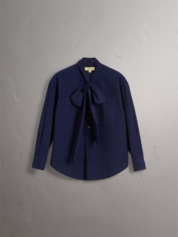 Neck Tie Cotton Chambray Shirt in Dark Indigo - Women | Burberry - cell image 3
