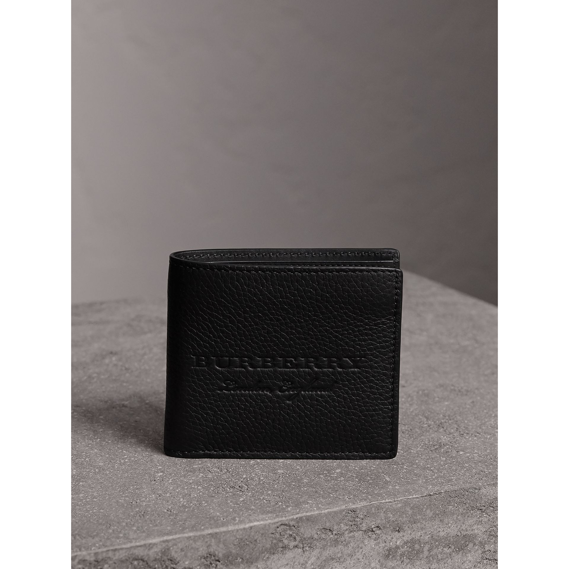 Embossed Leather Bifold Wallet in Black - Men | Burberry Canada - gallery image 4