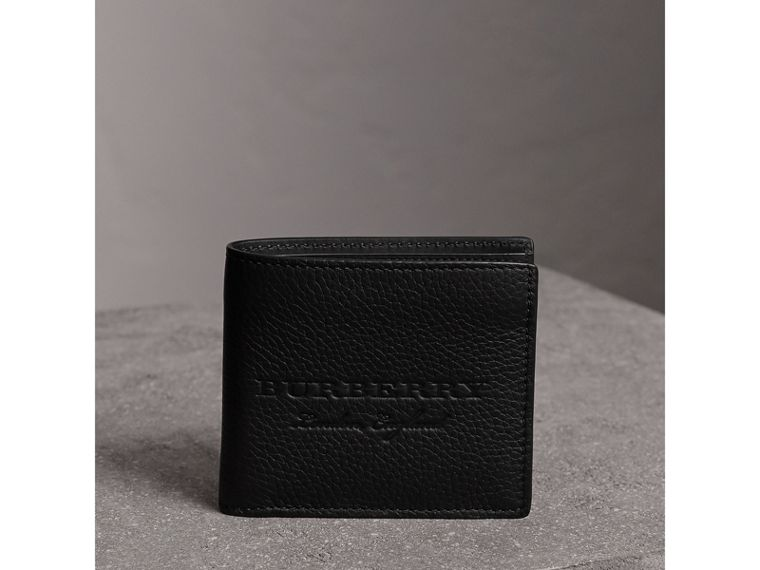 Embossed Leather Bifold Wallet in Black - Men | Burberry Canada - cell image 4