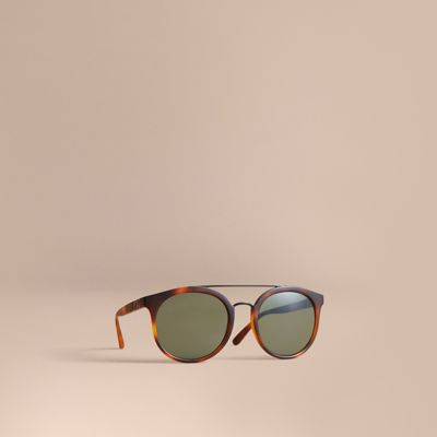 Top Bar Round Frame Sunglasses by Burberry