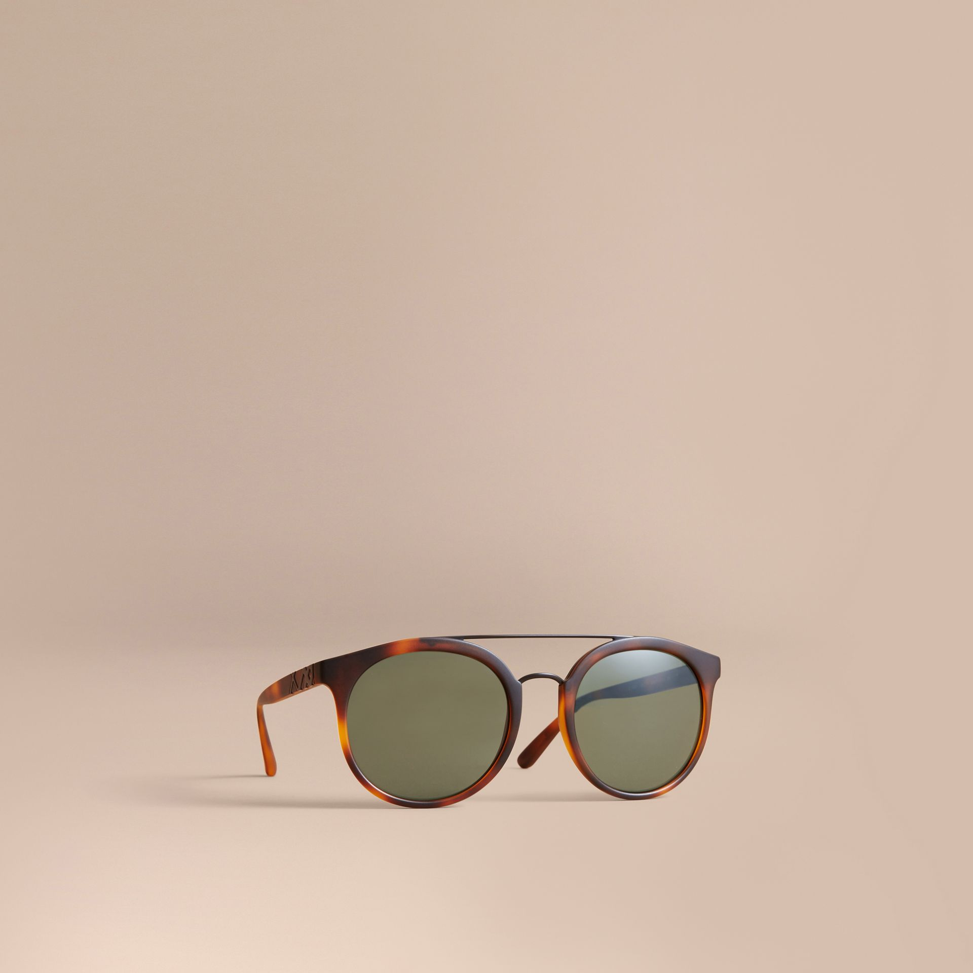 Top Bar Round Frame Sunglasses in Brown - Men | Burberry - gallery image 1