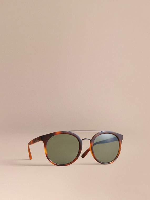 Top Bar Round Frame Sunglasses in Brown - Men | Burberry Hong Kong