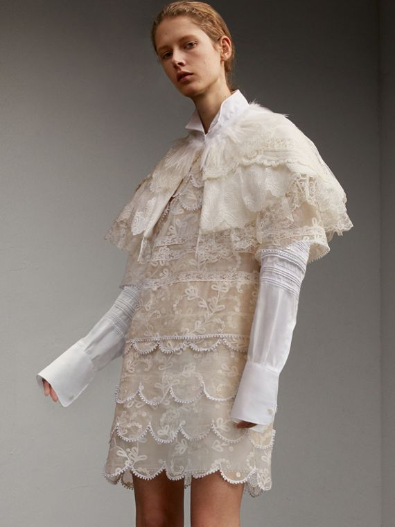 Layered Lace Capelet with Feather Collar Detail