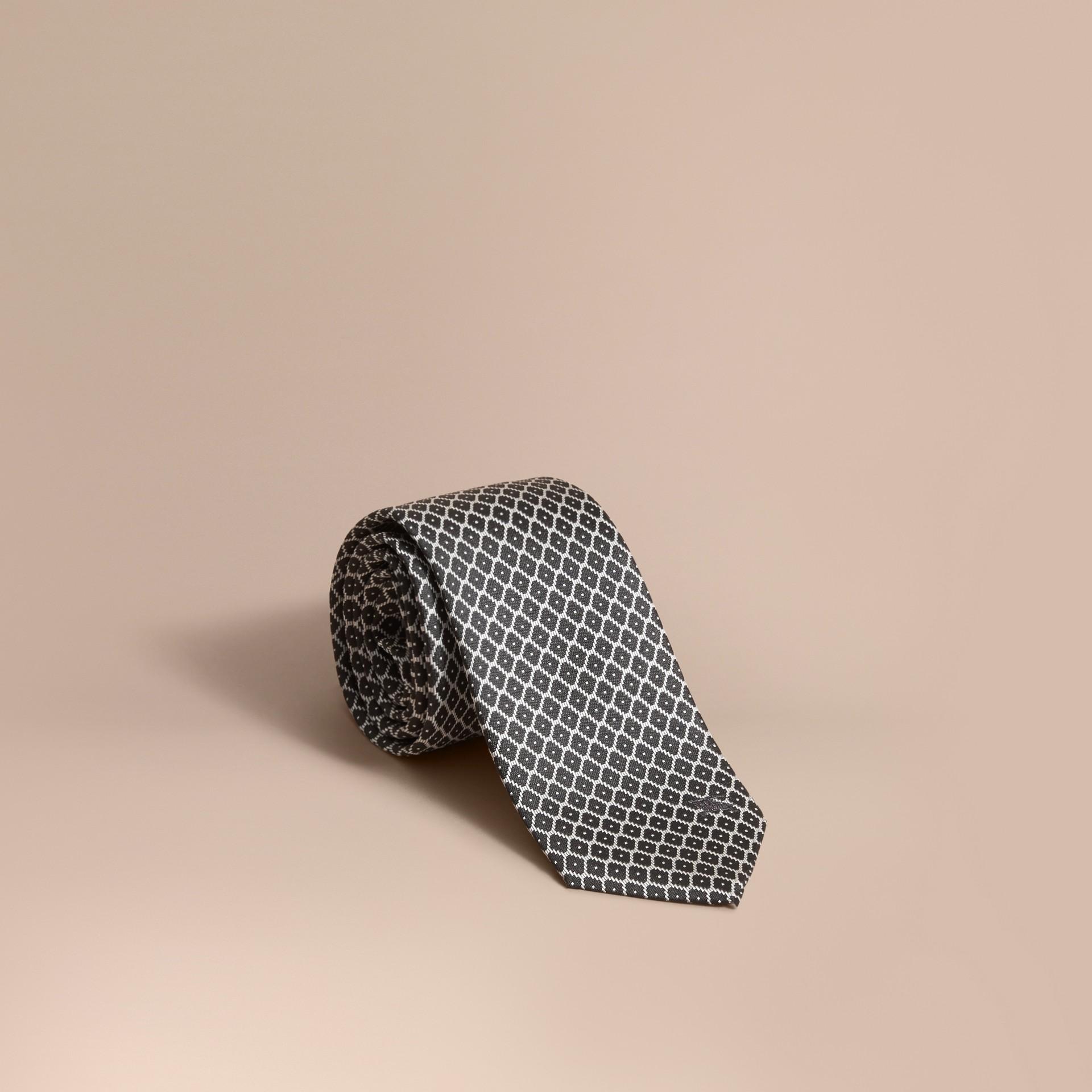 Modern Cut Silk Jacquard Tie Black - gallery image 1