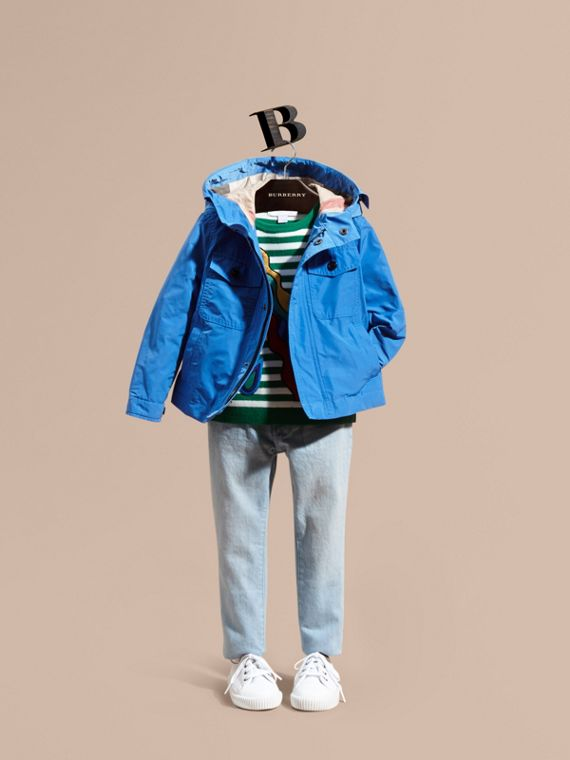Hooded Field Jacket in Bright Hydrangea Blue