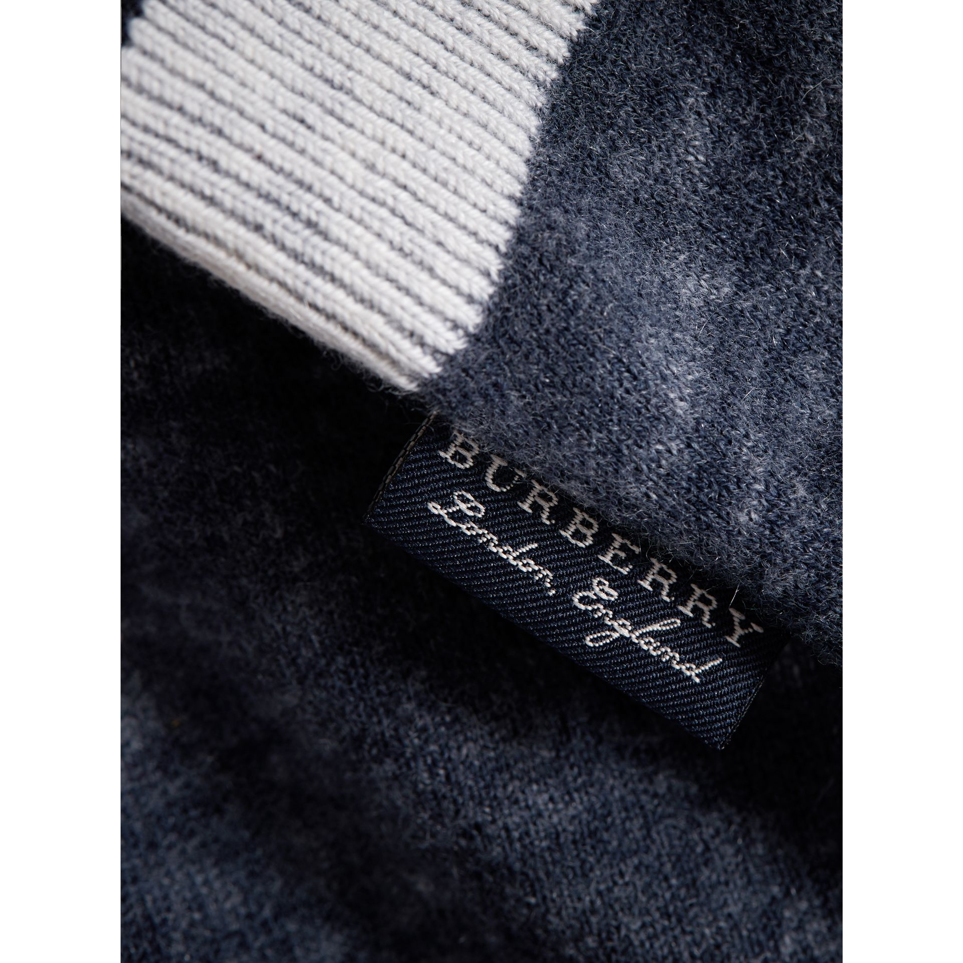 Cashmere Cotton Three-piece Baby Gift Set in Navy | Burberry United Kingdom - gallery image 1
