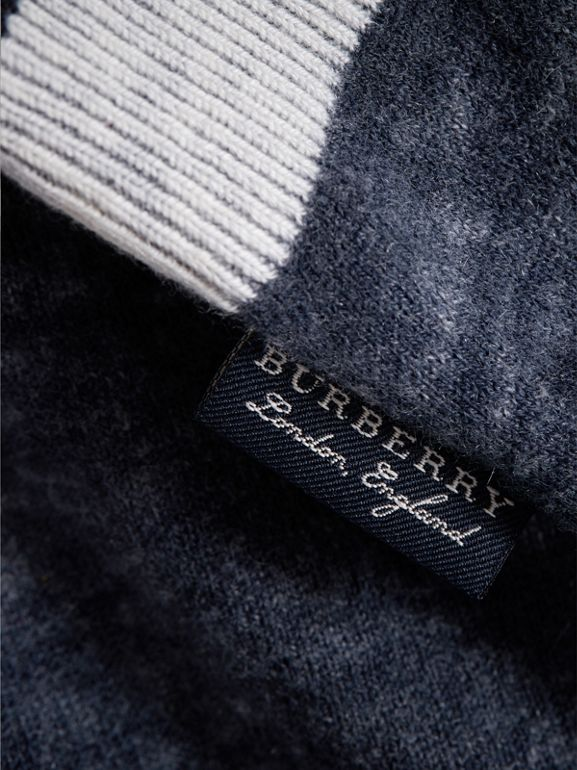Cashmere Cotton Three-piece Baby Gift Set in Navy | Burberry United Kingdom - cell image 1