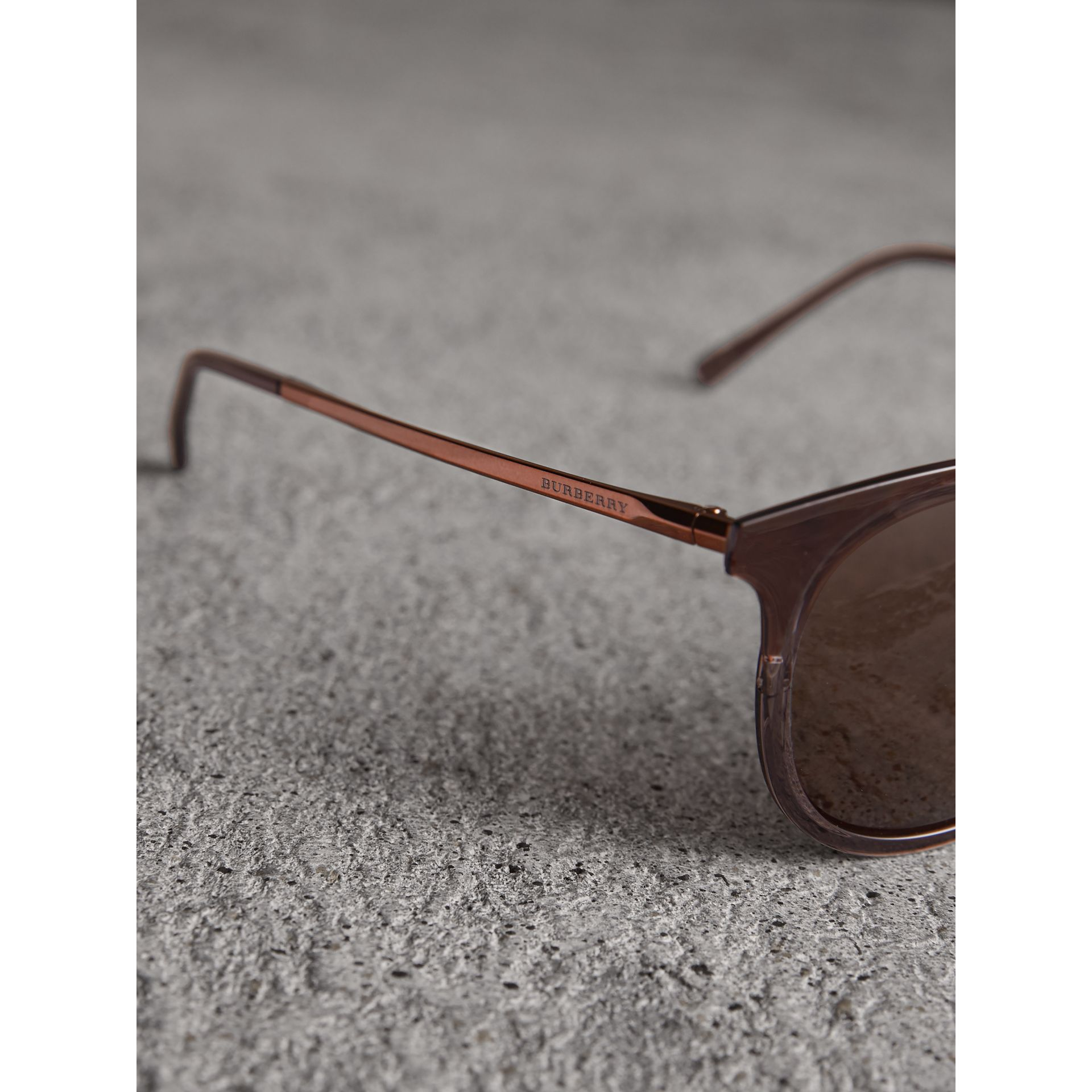 Round Frame Sunglasses in Burnt Orange - Men | Burberry United Kingdom - gallery image 1
