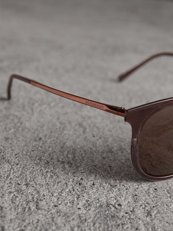 Round Frame Sunglasses in Burnt Orange - Men | Burberry United Kingdom - cell image 1