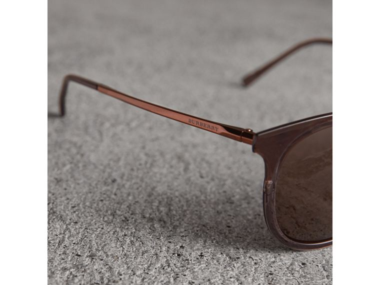 Round Frame Sunglasses in Burnt Orange - Men | Burberry - cell image 1