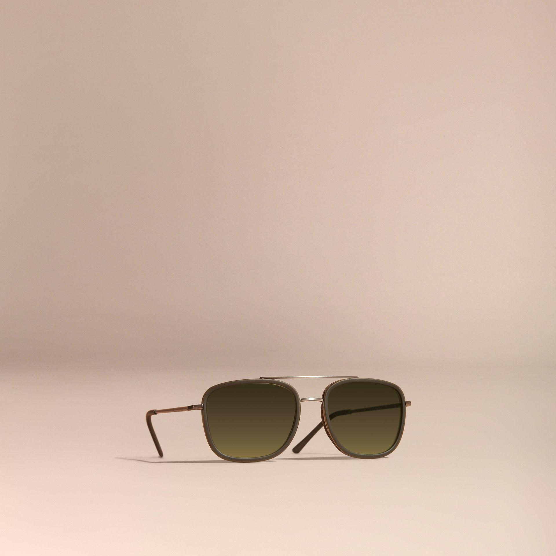 Grey Square Frame Acetate and Leather Sunglasses Grey - gallery image 1